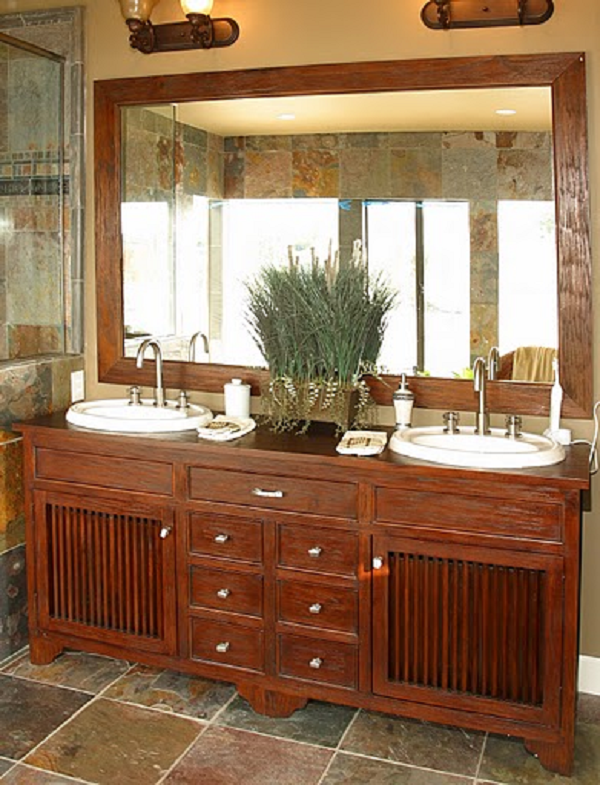 Cool wood double bathroom vanity