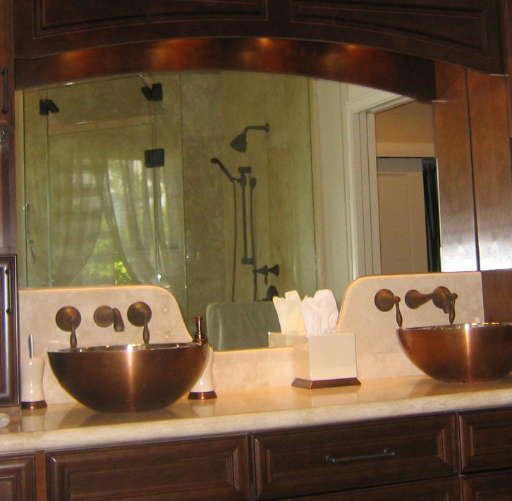 Double copper bowl sink w wall mounted faucets