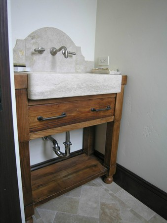 ... LImestone bathroom farm sink