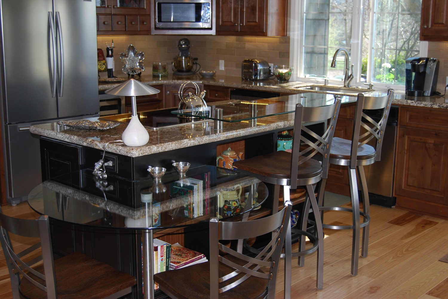 glass counter bar extension, circular glass table, attached glass table, knotty hickory floors