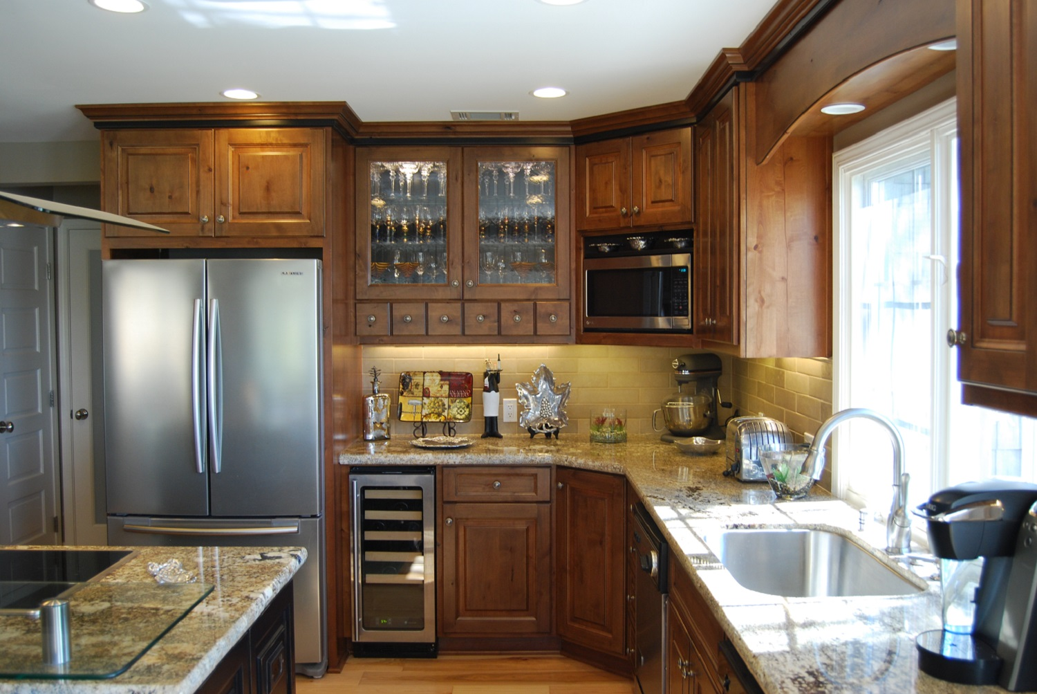 Glass insert upper cabinets, under counter wine cooler, mini upper cabinet drawers