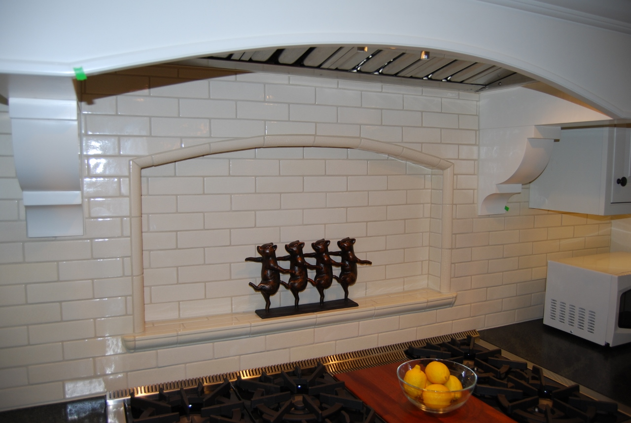 Custom wood hood with inset niche