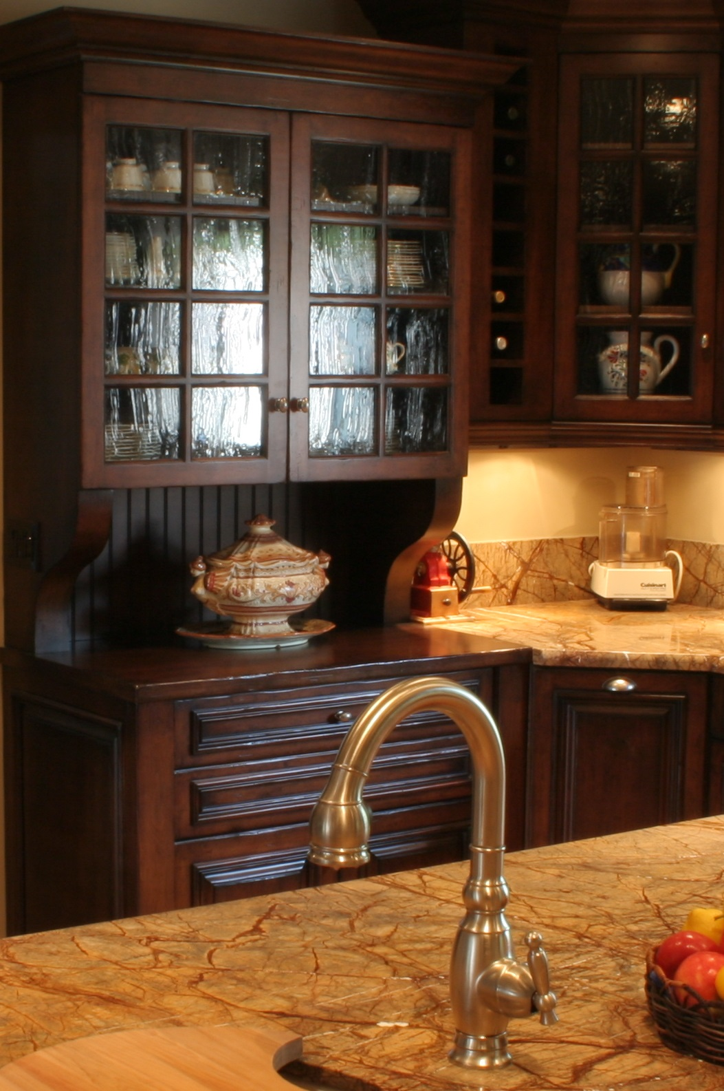 Finkel, Custom kitchen hutch, Rain Forest Brown granite counters, prep sink on island