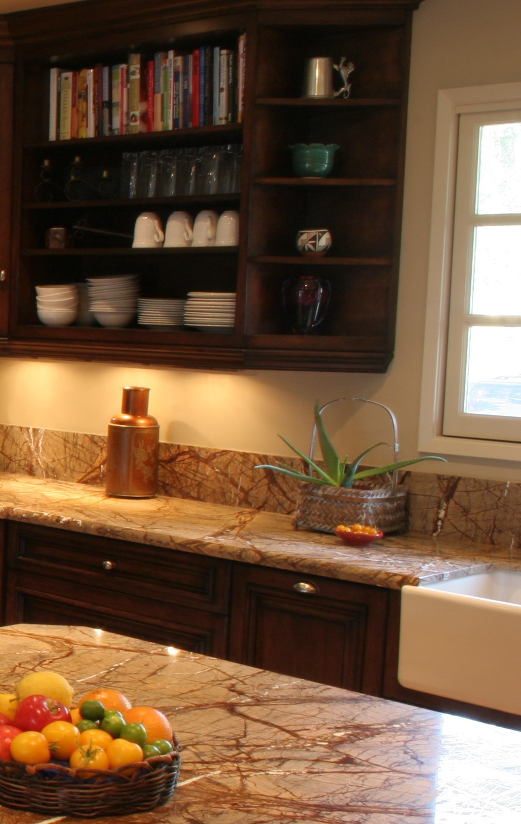 Finkel, Open wall cabinets, Rain Forest brown Granite, Farm sink
