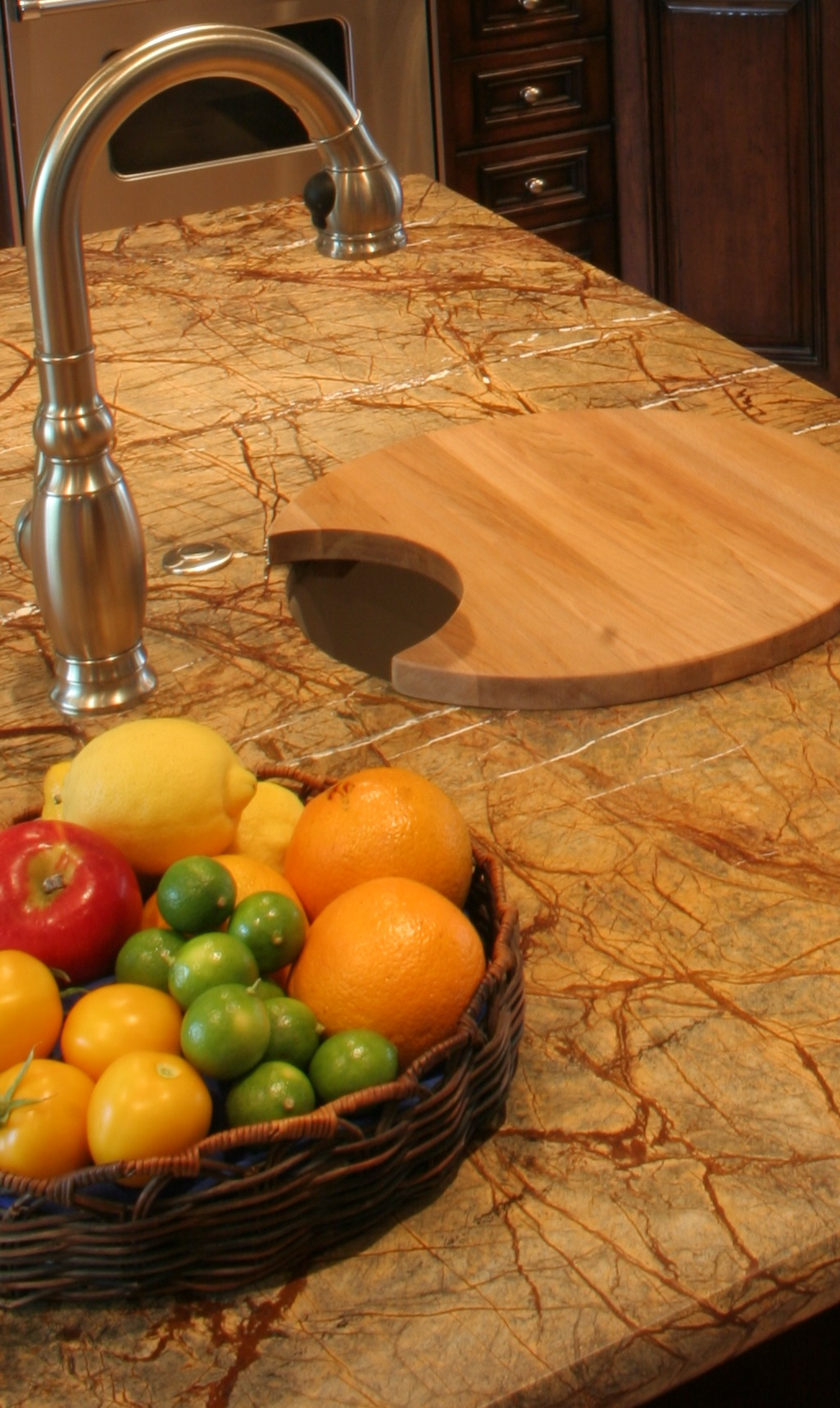 Finkel Rain Forest Brown Granite, island bar sink with custom cutting board