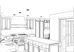 CAD, CAD drawing, CAD design, CAD kitchen design, kitchen design, black and white rendering