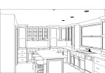 CAD, CAD drawing, CAD design, CAD kitchen design, kitchen design, black and white rendering