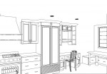 CAD, CAD drawing, CAD design, CAD kitchen design, kitchen design, 3D black and white CAD rendering