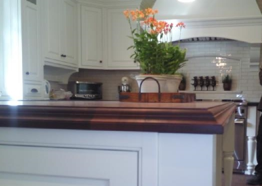 Medallion Cabinetry with Walnut wood counter