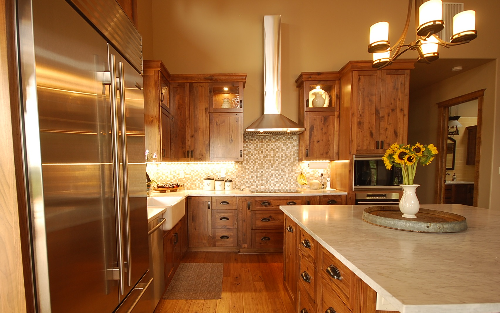 Ordinary Order Custom Kitchen Cabinets Online #1: Local Custom Built Rustic Walnut Cabinets And Calacatta Marble Counters With Oil Rubbed Bronze Drawer Pulls.
