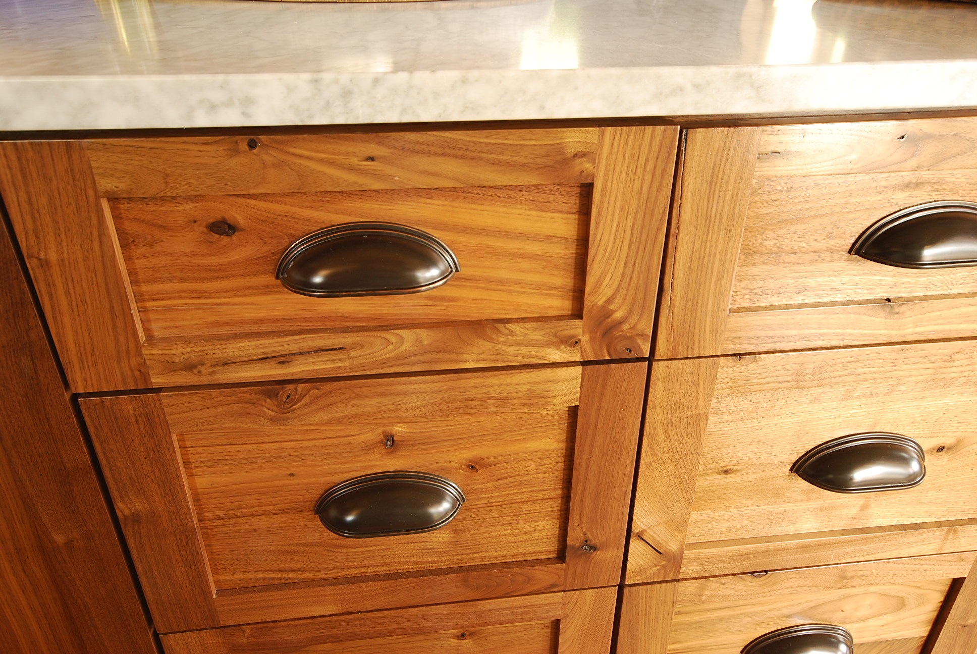 Rustic Walnut cabinets with oil rubbed bronze cup pulls | Much Ado ...