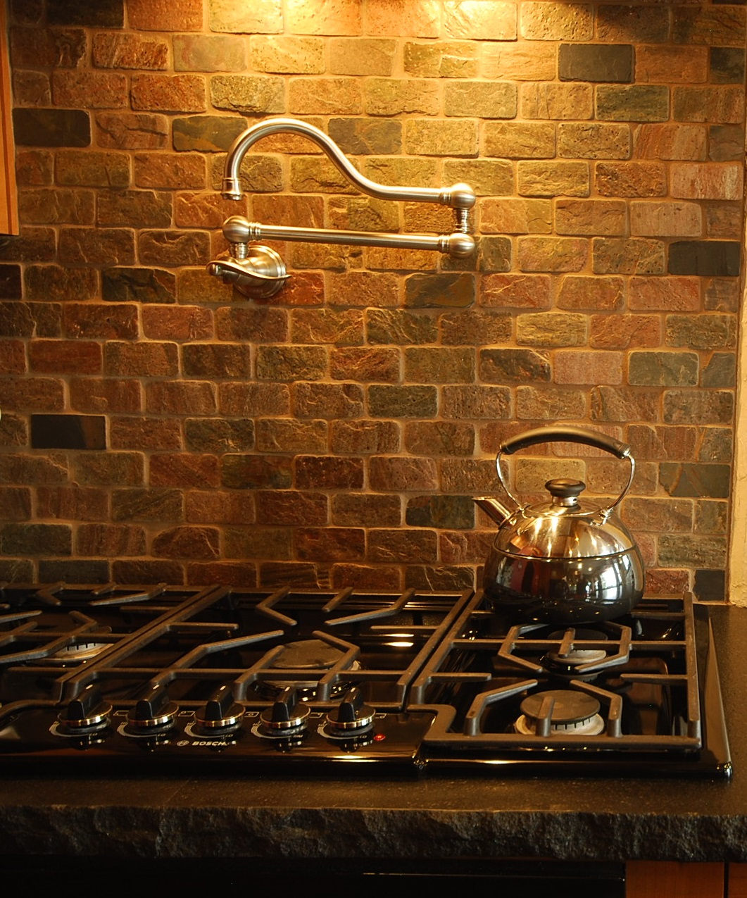 Brushed Nickel stove top pot filler Much Ado About Kitchens