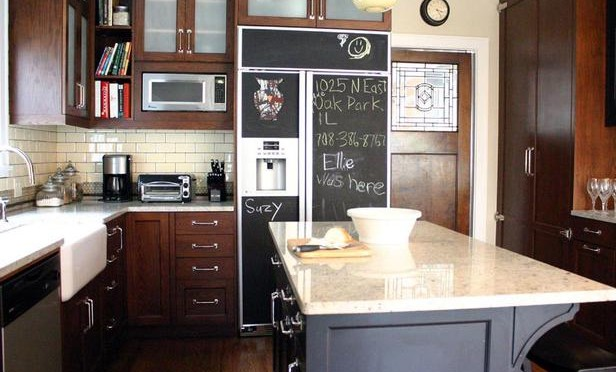 Chalkboard painted fridge panels Design by Rebekah Zaveloff