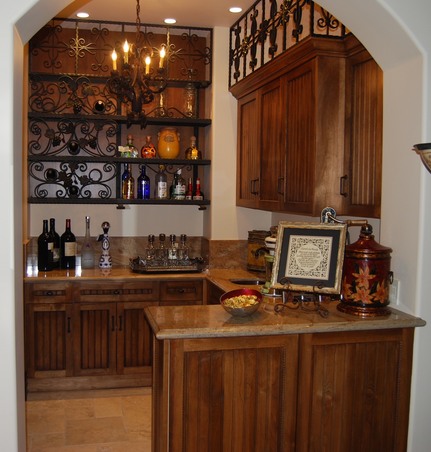 Custom Bar Cabinets With Wrought Iron Design Detail Large Kitchen